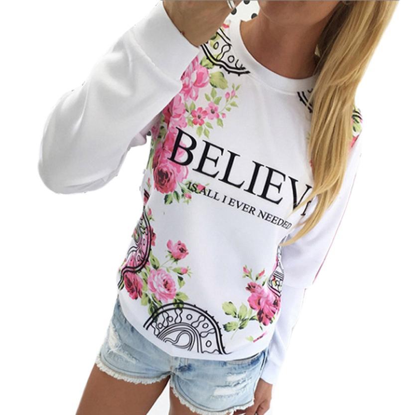 Kimisohand 2016 Fashion Women Casual Loose Cotton Floral Print Hoodies Sportwear Pullover Sweatshirt Long Sleeve Blouse Tops