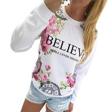 Kimisohand 2016 Fashion Women Casual Loose Cotton Floral Print Hoodies Sportwear Pullover Sweatshirt Long Sleeve Blouse Tops(China (Mainland))