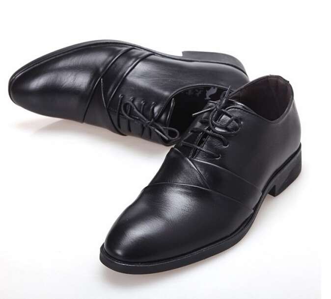 Fashion Mens PU Leather Classic business Shoes casual Flats Party lace-up Men Wedding shoes black