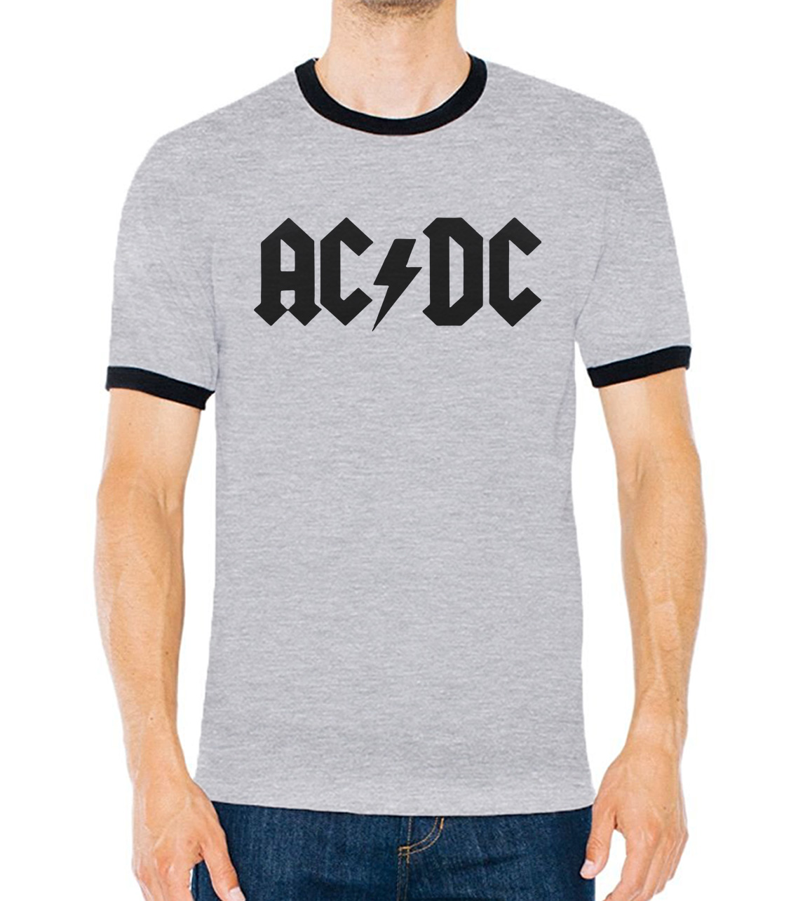 funny AC/DC band rock brand clothing men's contrast collar cotton t-shirts male harajuku fitness tee shirt homme 2017 summer mma