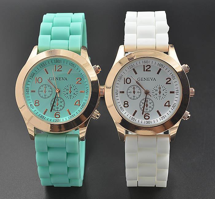 Geneva Casual Women girl Dress Quartz Military men Silicone Unisex Wristwatch Sports watches(China (Mainland))