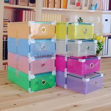 Colorful Transparent Shoe Boxes Clear Plastic PP Storage Box Packaging Boxes For Shoes Foldable Organizer Box Men Women