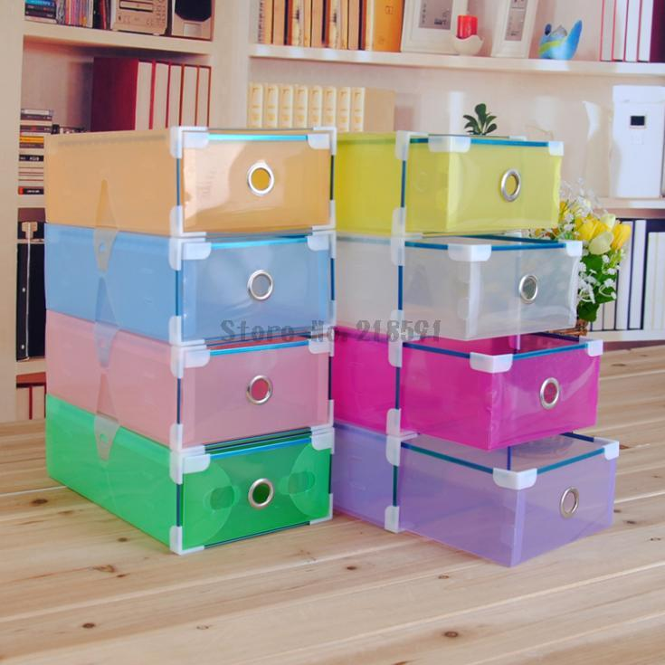 Colorful Transparent Clear Plastic PP Storage Box Packaging Boxes For Shoes Foldable Organizer Box Men Women(China (Mainland))