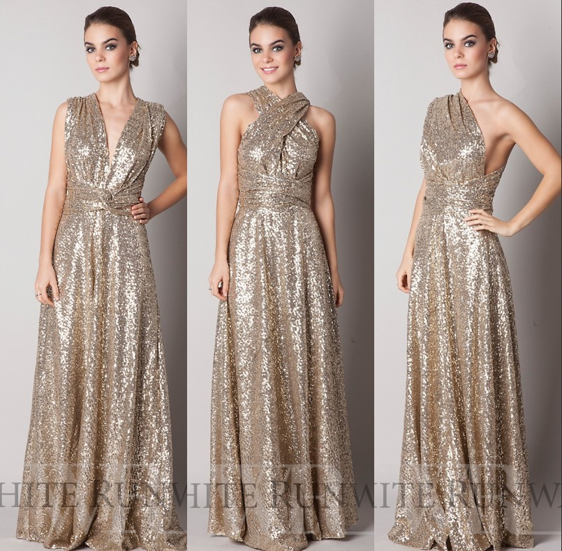 Custom Made Maid Of Honor 2016 Sparkly Convertiable Rose Gold Sequins Bridesmaid Dress A Line Floor
