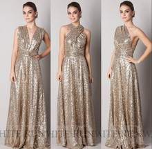 A Line Rose Gold Sequins Bridesmaid Dress