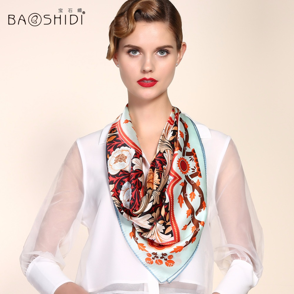 2016 Spring women 100% pure silk scarves large square silk scarf Office lady casual scarves burderry Brand Scarf(China (Mainland))