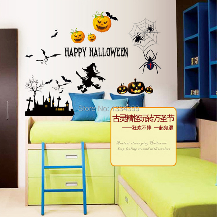 MJ7012 quirky Halloween pumpkin sticker personalized sticker removable glass(China (Mainland))