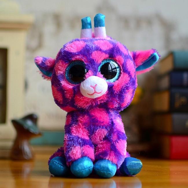Ty Beanie Boos Big Eyes Plush Toy Doll Purple Giraffe Stuffed Animals Soft Doll Baby Kids Gift 10 - 15cm(China (Mainland))