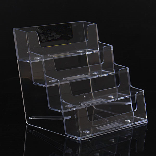 Excellent Design High Quality Four Pocket Clear Desktop Office Counter Acrylic Business Card Holder Stand Display Fit For Office(China (Mainland))