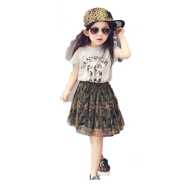 2016 жаркое лето новинка девушка с коротким рукавом футболки + юбка маскировочный костюм детской одежды комплект