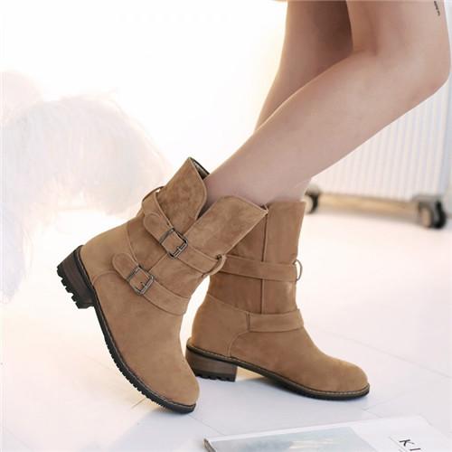 Punk Rome 2015 New Winter Hot Woman Round Toe Cuban Low Heel Buckle Decor Slip Faux Suede Ankle Boots Shoes Plus Size