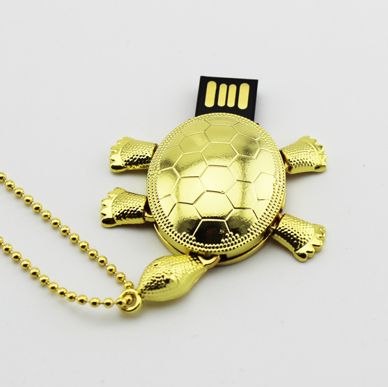 Retail necklace Gold Turtle shape USB Flash Drive pendrive memory stick disk pen drive 2G/4G/8G/16G/32G/64G Free shipping(China (Mainland))