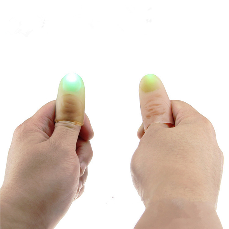 1 Pair Kids Amazing Fantastic Glow Toys Funny Novelty LED Light Flashing Fingers Magic Trick Props Children Luminous Gifts Decor(China (Mainland))