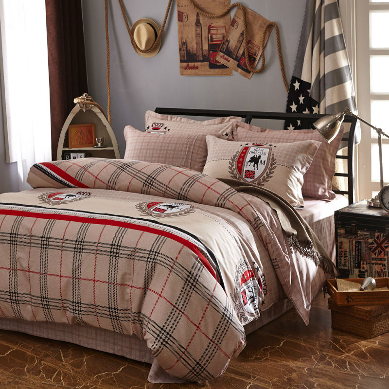fashion England style linens 100% cotton bedding sets black red stripes pale peach coverlet Queen Double size quilt cover set(China (Mainland))