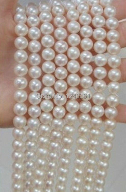 All Match 8-9MM Akoya White Pearl Shell Necklace Rope Chain Beads Jewelry Making Natural Stone 130inch (Minimum Order1)(China (Mainland))