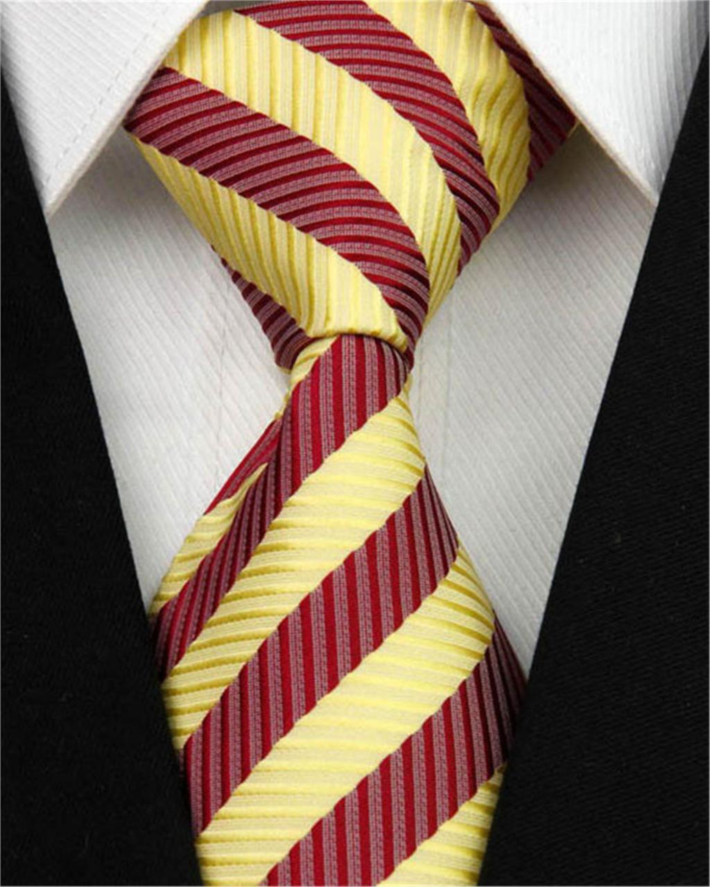 "Classic Striped Tie for Men Wedding Accessories Red Yellow Silk Jacquard Woven Pattern Man Business Necktie Gift Nt63 (4""/10cm)()"