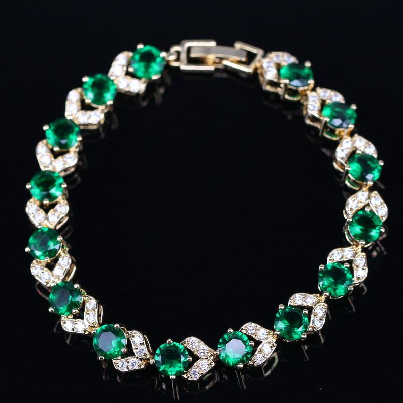 White Topaz Green Emerald Bracelets For Women Wedding 18K Yellow Gold Jewelry Free Shipping Free Gift Box KMB0088<br><br>Aliexpress