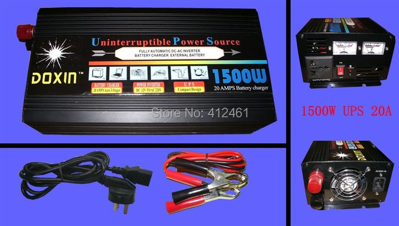 ,1500W UPS 12V DC TO AC 220V 15A Power Inverter+Charger svc voltage regulator - Smile Electric Factory store