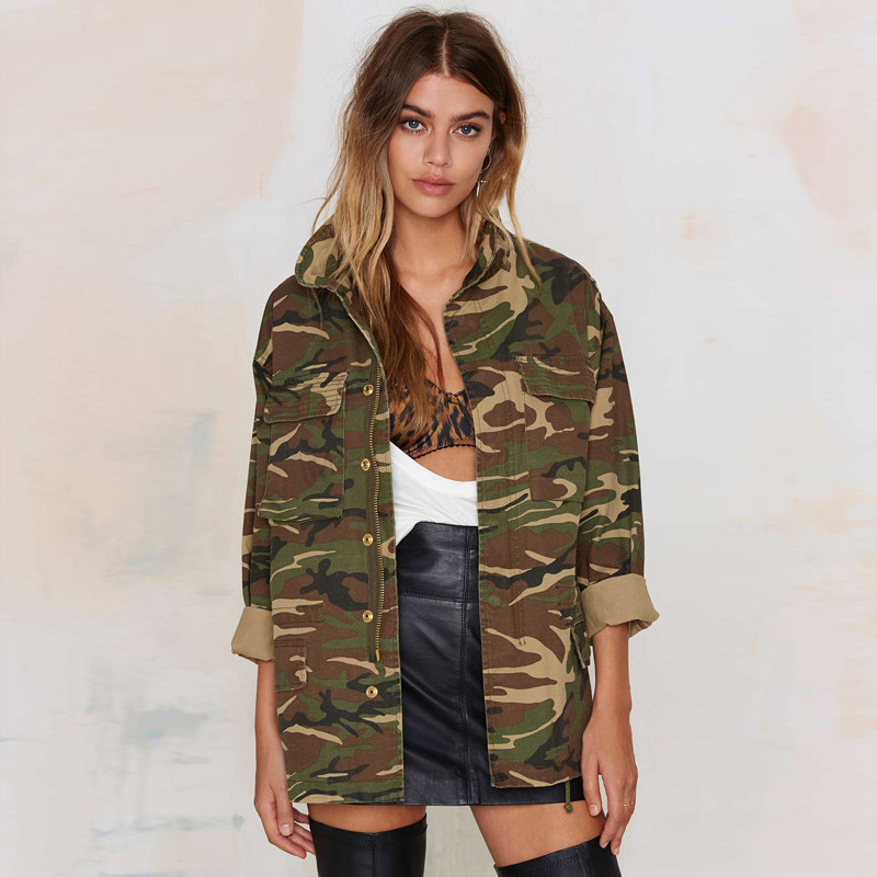 Women Jacket European Style Vintage Camouflage Jacket Coat Female Casual Coat Chaquetas Mujer Stand Collar Loose Overcoat C2074Одежда и ак�е��уары<br><br><br>Aliexpress