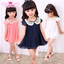 New 2015 Summer Girls Sleeveless Pleated Dress Baby Girls Party Cute Dresses 3~8 Y Girl Dress Baby Clothing(China (Mainland))