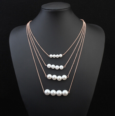 N19 Trendy Multilayer Alloy Plated Gold Big White simulated pearl Neckalce Summer Fashion Jewelry Body Chain Women(China (Mainland))