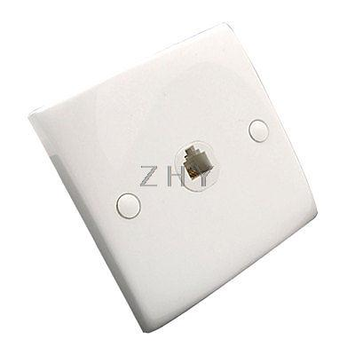 Single Gang 4 Pin RJ11 Telephone Female Jack Outlet Wall Plate White(China (Mainland))