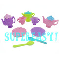 9Pcs A Lot 1 Set 1 6 Tableware Teapot Cup Dish Spoon For Barbie Doll Accessories