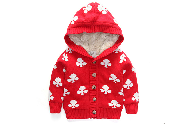 New Arrival Baby Girls Winter Hooded Sweater Girls Flower-print Thicken Warm Cardigan Kids Single-breasted Warm Coat <br><br>Aliexpress
