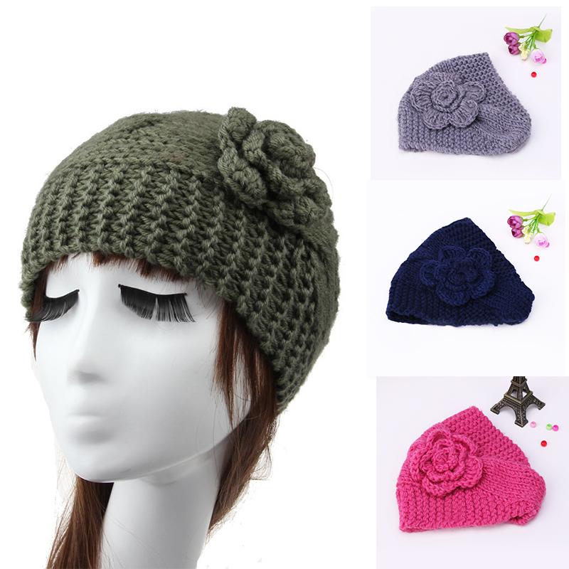 2016Hot sale Beauty Fashion6 Colors Flower Crochet Knit Knitted Head Hairband Ear Warmer Hair Muffs Band Handmadde hair band(China (Mainland))