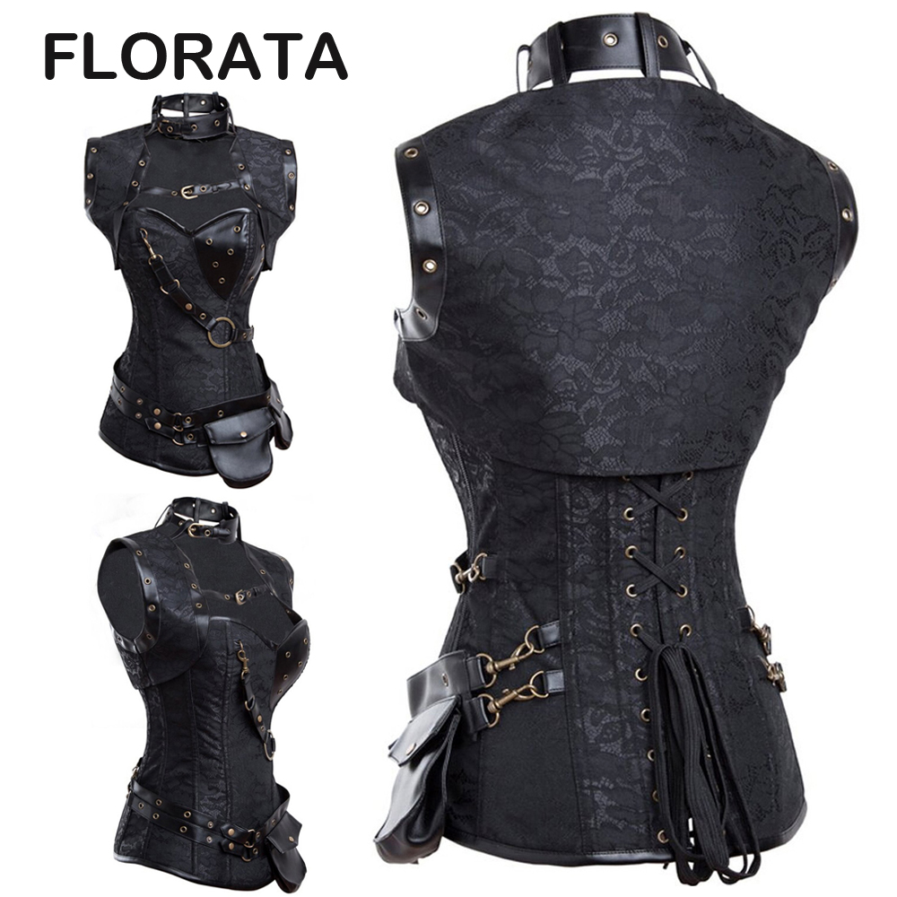 FLORATA Women Gothic Clothing Sexy Black Steel Bone Corset Steampunk Waist Corsets And Bustiers Top(China (Mainland))