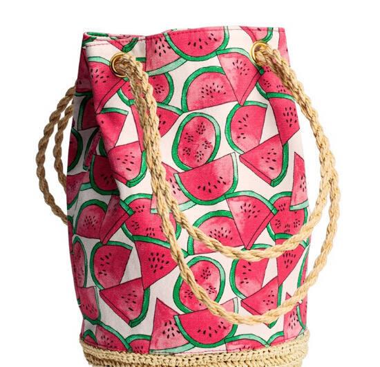 Fresh Fruit Watermelon Printing Tote Women Bucket Bag Canvas Shoulder Bag Straw Beach Bag Woven Hand bags bolsa feminina(China (Mainland))