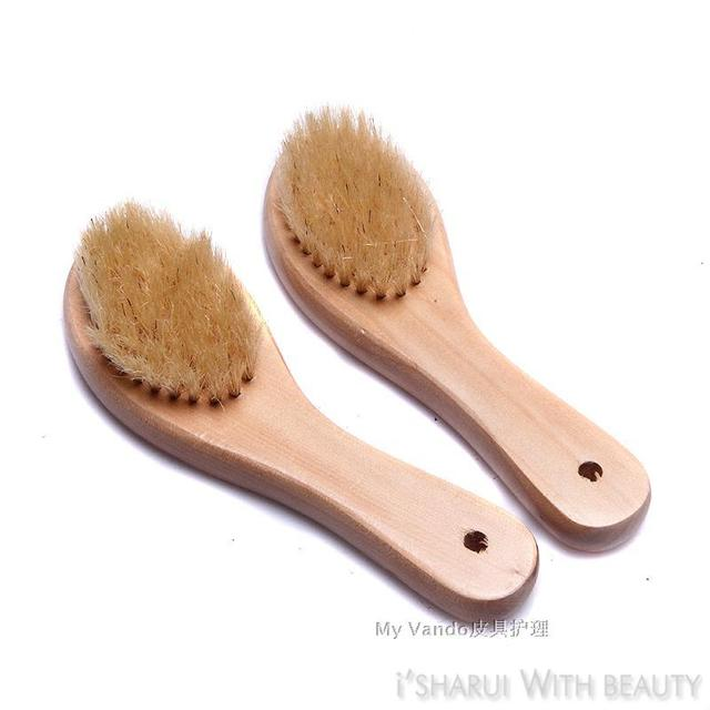 High quality bristle brush white wool soft mane shoe brush shoes good helper of shoes wooden handle elbow