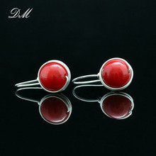 S99 pure silver earrings female earring red handmade fine silver jewelry accessories(China (Mainland))