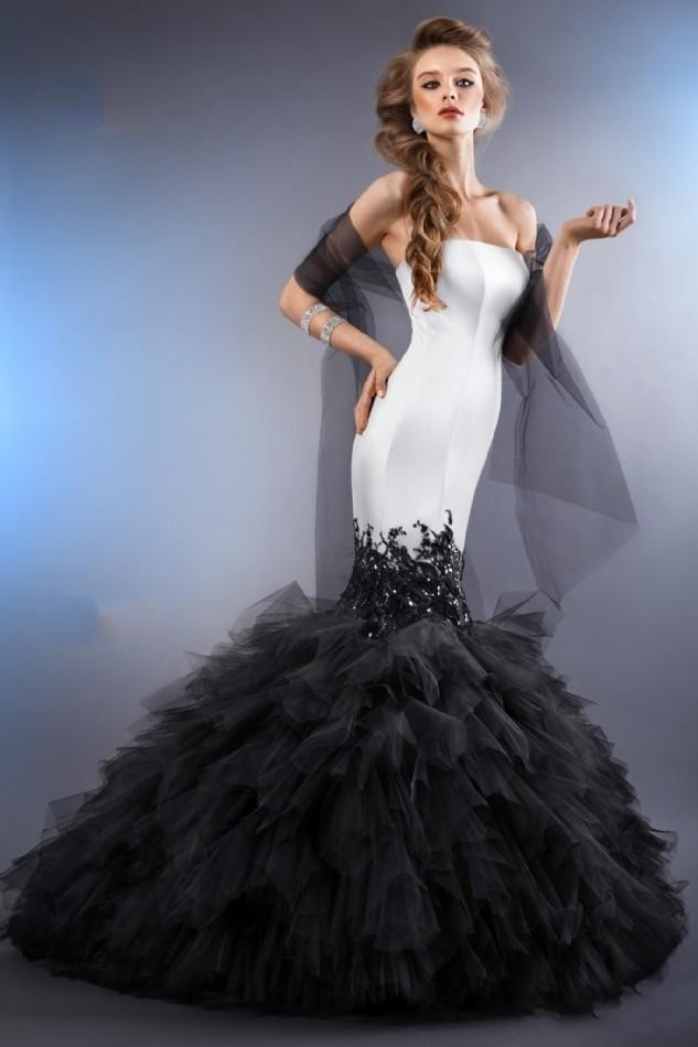 Custom made 2015 black and white mermaid wedding dresses for Unique black and white wedding dresses