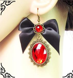 Q2255 Vampire retro red Luxury stone crystal earrings black bow mysterious sexy prom party B7