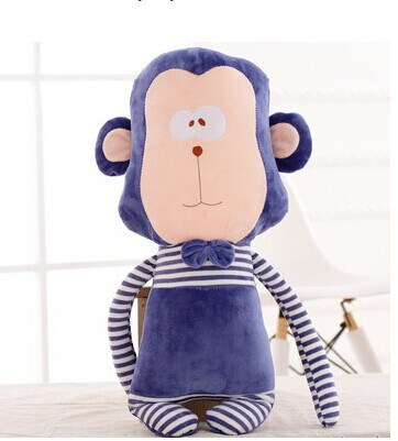 big creative stuffed lovely monkey animal plush toys blue stripe monkey toy doll birthday gift about 87cm(China (Mainland))