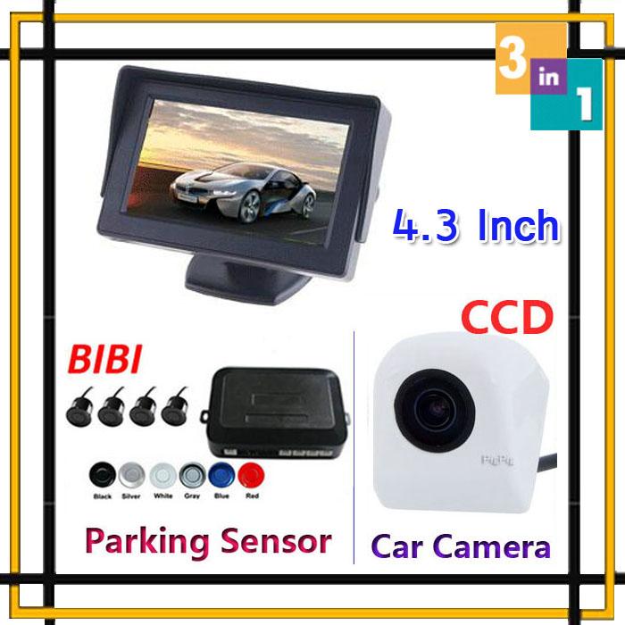 4.3 inch TFT car monitor LED Colorful 12V + CCD rear view camera Backup + Car Parking sensor 4 Sensor System Assistance Set(China (Mainland))