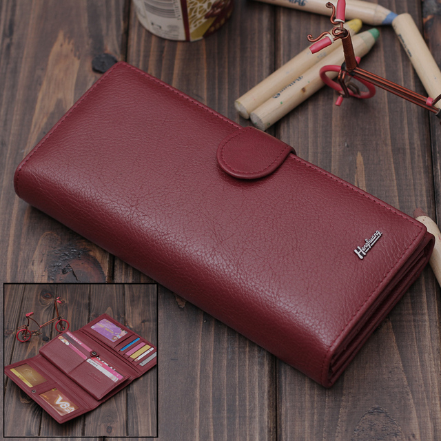 women's wallet female long design genuine leather wallet cowhide women's wallet female three hold