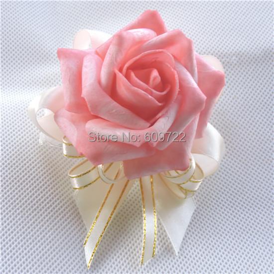 New 10pcs Prom PE Boutonniere Artificial Rose Wedding Church Decor Corsage Wrist Flower Guest Bracelet Green Yellow FL1520(China (Mainland))
