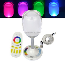 2.4g Mi light Wireless Group LED Lamp USB RGBW Magic Crystal Glass Win Light with battery + RF Touch Remote Control for Party(China (Mainland))