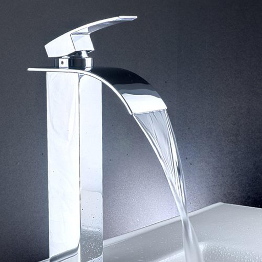 USA Stock! New Single Handle Waterfall Bathroom Sink Centerset Lavatory Faucet Tall Chrome(China (Mainland))