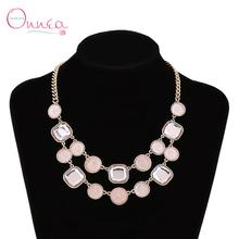 2015 100% Brand New Fashion Design Pink Rhinestone Necklace For Girls Multilayer Pendant Choker Necklaces Women Luxury Jewelry(China (Mainland))