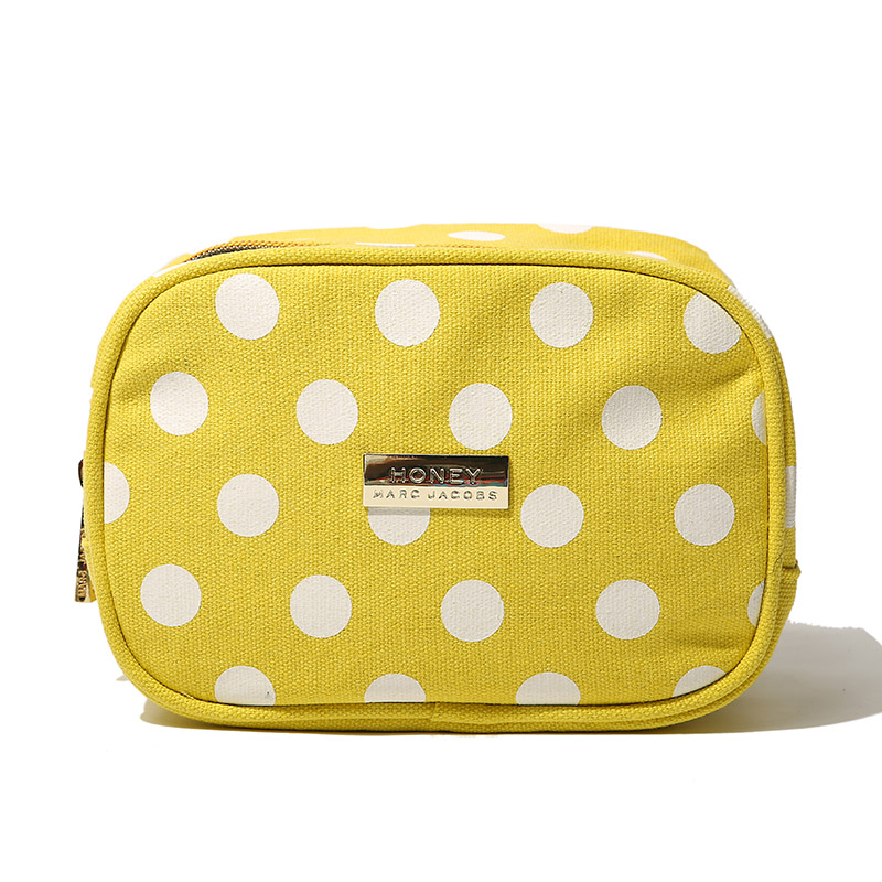 2015 new fashion women White polka dot storage bag cosmetic bag zipper style washing bags for travel free shipping(China (Mainland))
