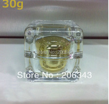 30G gold square shape cream bottle,cosmetic container,,cream jar,Cosmetic Jar,Cosmetic Packaging - packing world -cosmetic and medicine store