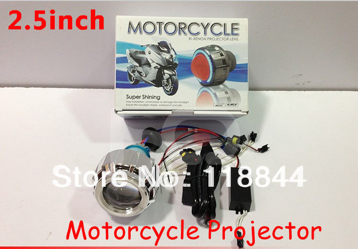 2.5 inch BiXenon HID Projector Lens Motorcycle headlight with Yellow Blue Red White Green CCFL Angel eye + Slim ballast