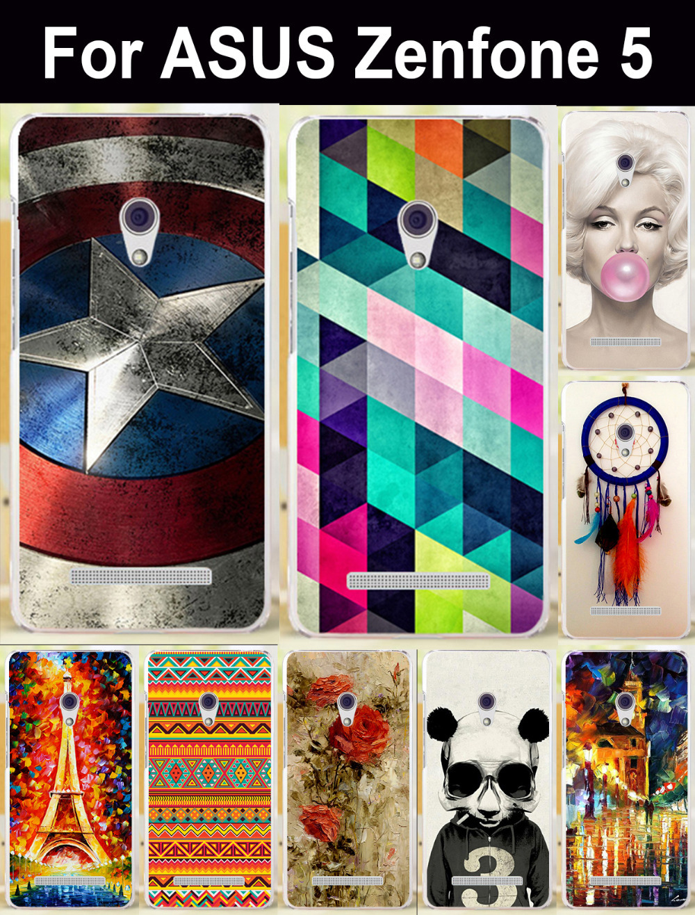 Newest colorful High quality mobile phone case protective case hard Back cover Case for ASUS Zenfone 5 Cellphone Cases Bags Hood(China (Mainland))