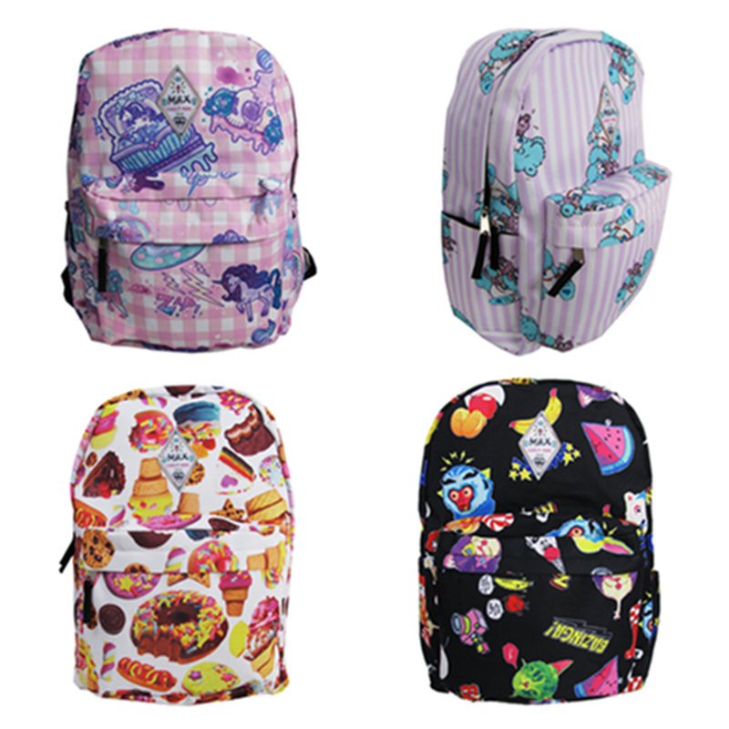 NEW 2015 Harajuku Zipper Doodle Candy Skull Biscuits Trojan Unicorn Bear Young Girl Travel Backpack School Bag Drop shipping(China (Mainland))