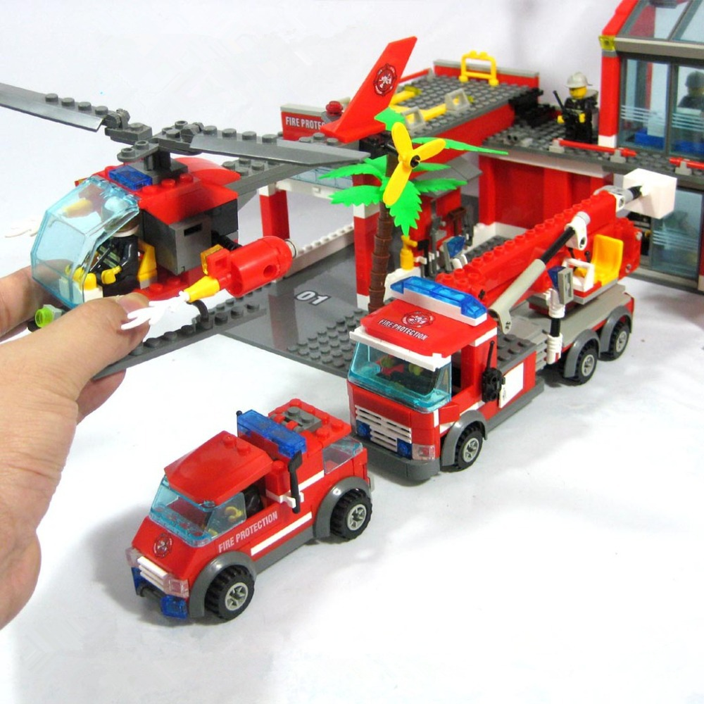 New 2016 Kazi 774pcs/set City Fire Station Truck Helicopter Firefighter Minifigure Building Blocks Bricks Toys  Compatible