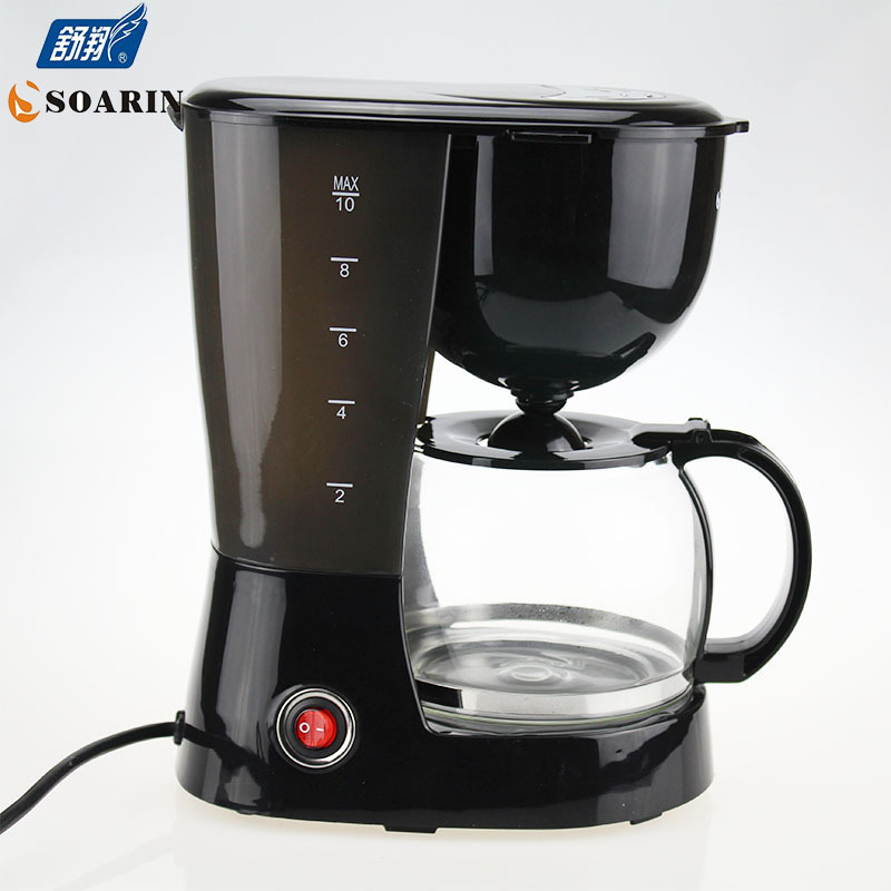 Automatic 5 Cups Espresso Electric Coffee Maker Black Drip Coffee Machine With Water Window High-quality cafe American 800w(China (Mainland))