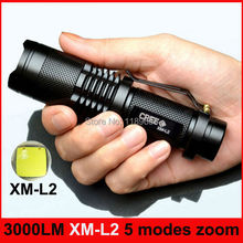 3000LM 5 Modes CREE XM-L2 high-quality Mini Black Waterproof LED Flashlight  Zoomable lantern LED Torch penlight [No battery](China (Mainland))